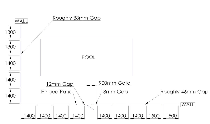Dimensions of where glass fence is to be installed 2