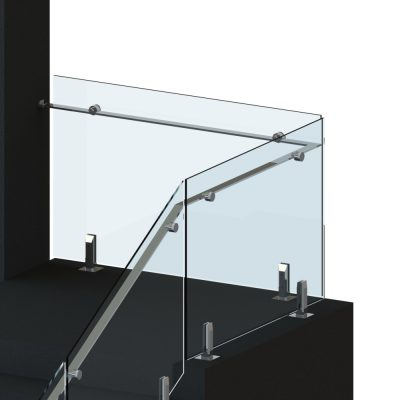 Spigots with floating handrail balustrade glass