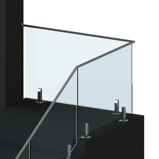 Top rail balustrade glass on spigots